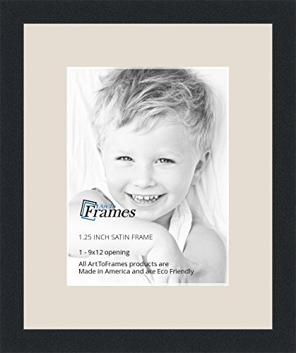 ArtToFrames 9 x 12 Inch Opening Single Mat with a Satin Black 1.25'' Wide Picture Frame, 2'' Porcelain Mat
