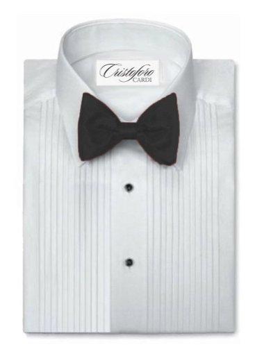Cardi Men's Poly/Cotton Laydown Collar Tuxedo Shirt 1/4 Inch Pleat, White