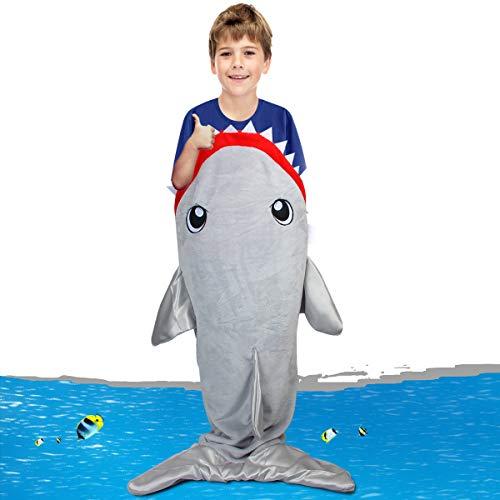 Libay Shark Tail Blanket, Children Shark Blanket Sleeping Bag Mermaid Tail Blanket for Kids, Gray ()