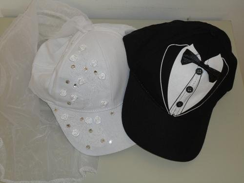 Bride and Groom Costume Baseball Hat Set With Sequins and Tule Veil and Tuxedo