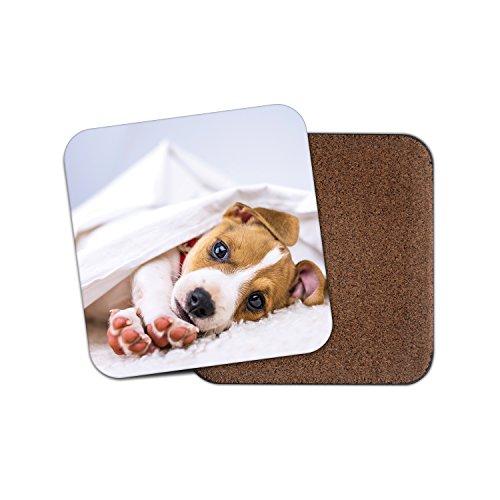 (Cute Jack Russell Pup Cork Backed Drinks Coaster - Dog Animal Mum #8286)