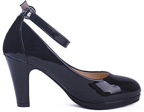 aux Femmes Noir Légeres Buckle à Shoes PU AgeeMi Chaussures Haut Talon E5qgUTvx