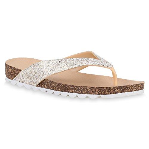Stiefelparadies Damen Sandalen Zehentrenner Glitzer Profil Sohle Sohle Sohle Freizeit Schuhe Flandell Creme 6f3847
