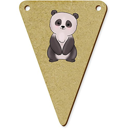 Azeeda 5 x 70mm 'Panda' Wooden Bunting Flags