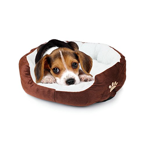 Pet Dog Bed, Pet Soft Washable Dog Cat Pet Warm Basket Bed with Fleece Lining Rectangular Fit Most Pets Coffee Size Medium