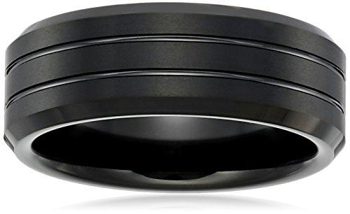 Amazon CollectionSapphire Anillos de tungsteno 8mm Negro Biselado Comfort Fit Bandas De Boda Para Hombres