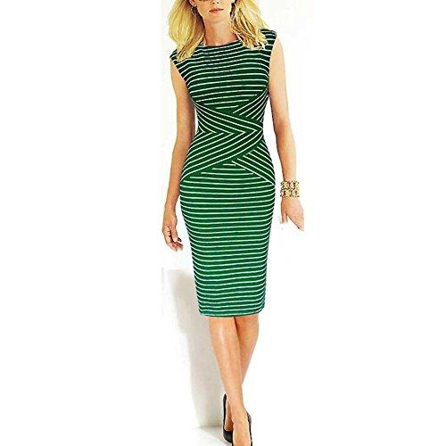 làpiz verano noche vestido Elegente de fiesta manga Vestido raya mujer a de MIOIM® sin Green de qE0Ux0g
