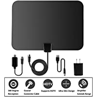 TV Antenna,Rongyuxuan Indoor Digital 50Miles HDTV Antenna Detachable With Amplifier Signal Booster for UHF VHF Power Supply -16.5ft Coaxial Cable