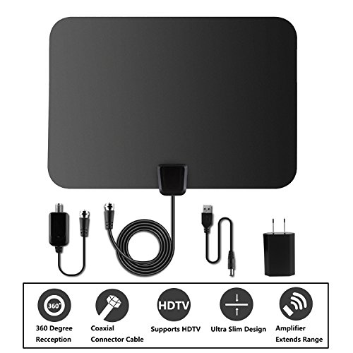 Price comparison product image TV Antenna,Rongyuxuan Indoor Digital 50Miles HDTV Antenna Detachable With Amplifier Signal Booster for UHF VHF Power Supply -16.5ft Coaxial Cable