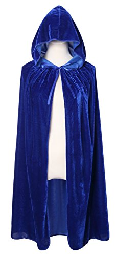 Diffly 39 Kids Velvet Hooded Cape Unisex Halloween Cloak for Devil Witch Wizard Halloween Christmas Cosplay (Blue)