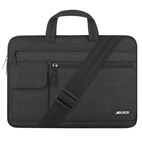 MOSISO Laptop Shoulder Bag Compatible 15-15.6 Inch MacBook Pro, Ultrabook Netbook Tablet, Polyester Flapover Protective Messenger Briefcase Carrying Handbag Sleeve Case Cover, Black