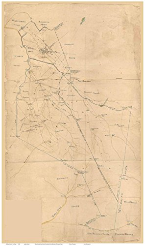 Burlington County New Jersey 1840 Wall Map with Homeowner Names - Old Map ()