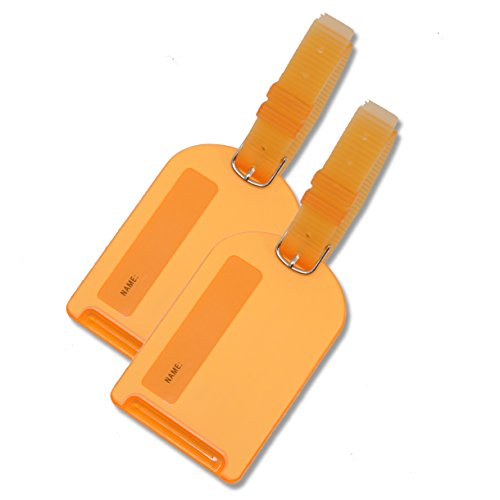 - 2 Pack Neon Luggage Tags Orange Business Card Holder For Baggage Travel Identifier Accessories Suitcase Tag