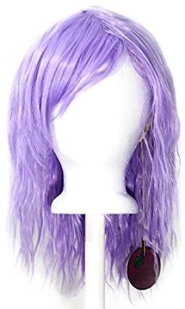 14/'/' Crimped Shoulder Length w// Short Bangs Butterscotch Blonde Cosplay Wig NEW
