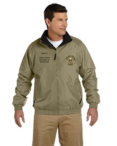 US Army Personalized Custom Embroidered Fleece Jacket - Khaki