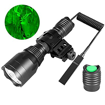 Fyland Tactical Flashlight - 350 Lumens And Yards Waterproof Green CREE LED Hunting Flashlight with Universal Picatinny Rail Mount, Remote Pressure Switch, Charger for Outdoor Hiking Hunting