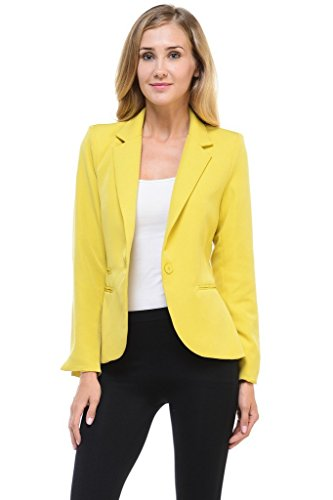 Auliné Collection Women's Color Work Office Long Sleeve Button Lined Blazer Mustard (Collection Suit Jacket)