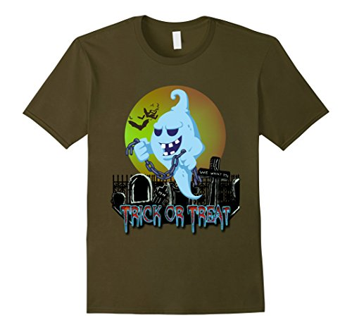 Mens Trick or Treat Ghost in the Cemetery Costume T Shirt XL Olive