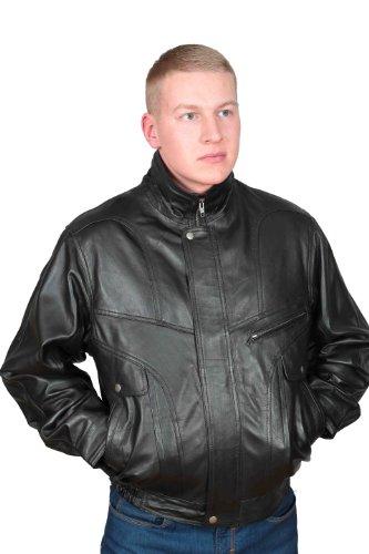 Veste En Cuir Blouson Douce En Cuir Nappa JACKET Manteau En Cuir Bombardier Classique NOIR Gents Classic - Lee