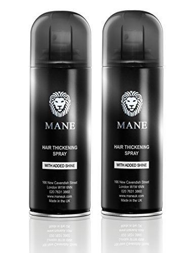 Mane America Hair Thickening Spray with Added Shine (2 Pack) (Jet Black) ()
