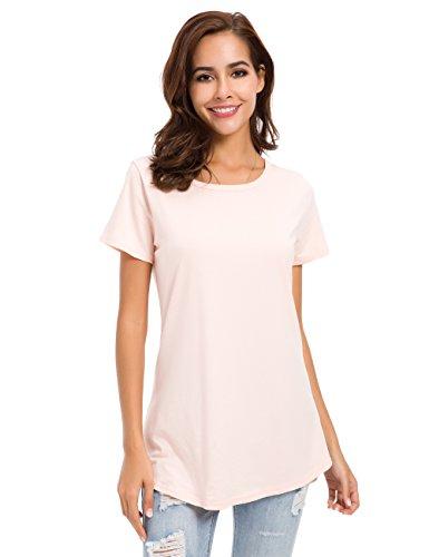 Women Cotton T-Shirts Short Sleeve Loose Comfy Basic Plain Tunic Tee, Pink, Large