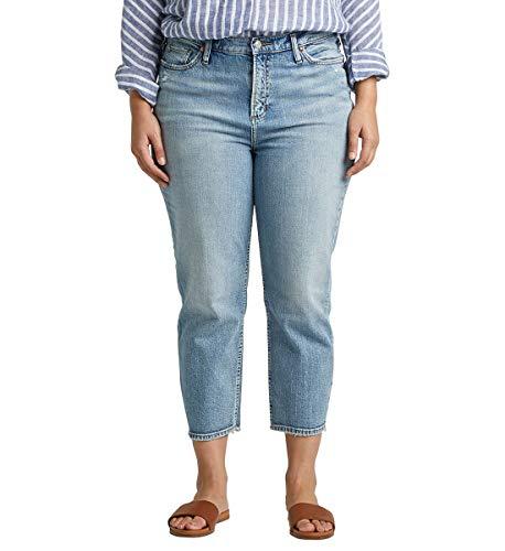 Silver Jeans Co. Women's Plus Size Frisco High-Rise Vintage Straight Crop Jeans, Medium Indigo, 14W x 25L