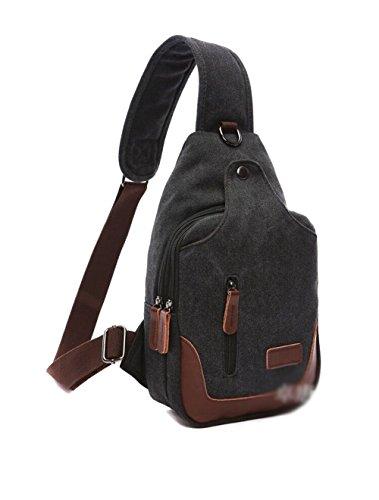 MiCoolker Fashion Retro Canvas Bag With Music Headphones Line Hole Chest Bag Multi-function Shoulder Messenger Bag Black
