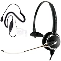 RJ9 Headset - Professional Voice Tube Microphone Headset + 8 Selection Switches Virtual RJ9 Quick Disconnect Headset Cord compatible with Plantronics QD