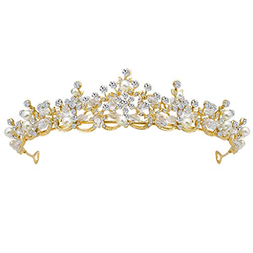 Luxury Elegant Crown Full Diamond Pearl Tiara Headband Crystal Bridal Prom Queen Pageant Princess Hair Accessories ()