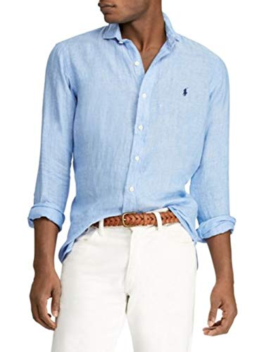 Polo Ralph Lauren Men's Classic Fit Linen Shirt (Blue, ()