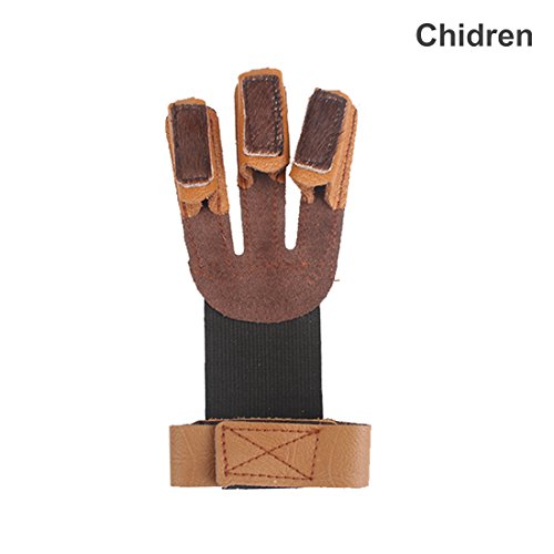 Krayney Adult Youth Leather Gloves Finger Protector, Shooting Hunting Arrow Bow Archery Gear Accessories (Brown-Youth Size)
