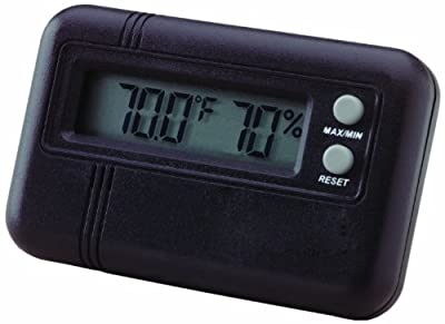 Buddy Products 1.5 x 0.5 x 2.5 Inches Digital Hygrometer and Thermometer, Black (1546D)