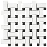 SomerTile FDXMBWWB Retro Basket Weave Glazed Porcelain Mosaic Floor and Wall Tile, 10.5'' x 10.5'', Matte White/Black