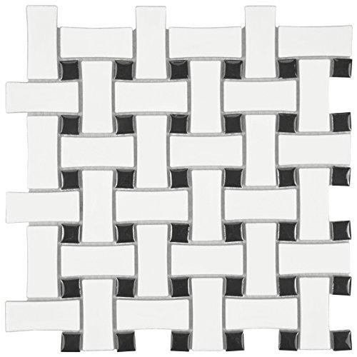 - SomerTile FDXMBWWB Retro Basket Weave Glazed Porcelain Mosaic Floor and Wall Tile, 10.5