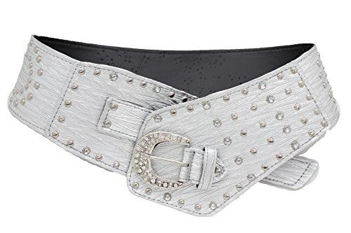 (TFJ Women Wide Western Faux Leather Belt Hip Silver Studs Bling Buckle (L/XL 42