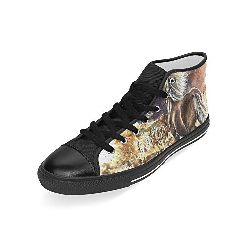 D-story Custom Horse Watercolor Painting Hombres Classic High Top Canvas Zapatos Moda Sneaker