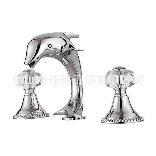 Furesnts Modern home kitchen and Bathroom Sink Taps Copper luxury art third HOLE WASHBasin Mixer Dolphin Bathroom Sink Taps,(Standard G 1/2 universal hose ports) by Furesnts Faucet (Image #1)