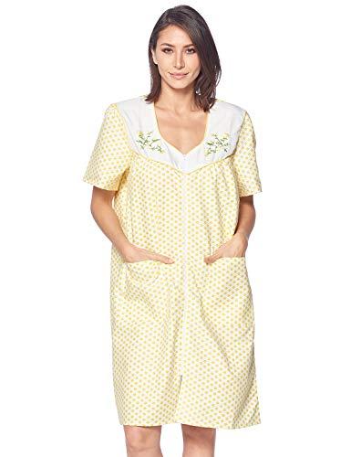 Casual Nights Women's Zipper Front House Dress Short Sleeves Duster Lounger Housecoat Robe, Dots Yellow, - Pockets Zipper 2