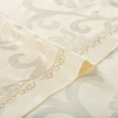 MEI Luxury Jacquard Silk Cotton Blend 4pcs Duvet Cover Bed Sheet Pillowcase Bed Linen by MEI (Image #4)