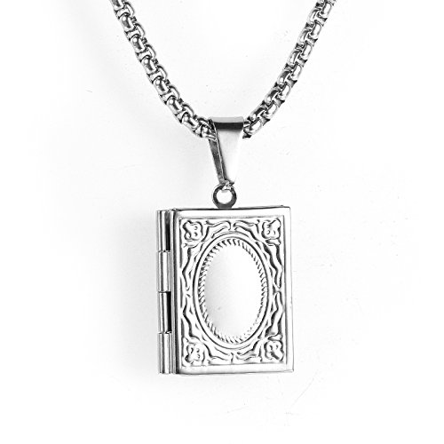 Adisaer Locket Necklace Book for Men and Women Stainless Steel Pendant Necklace Locket 2 Pictures