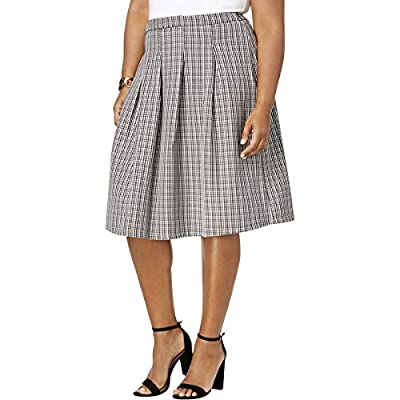 NY Collection Womens Plus Pleated Glen Plaid Pleated Skirt