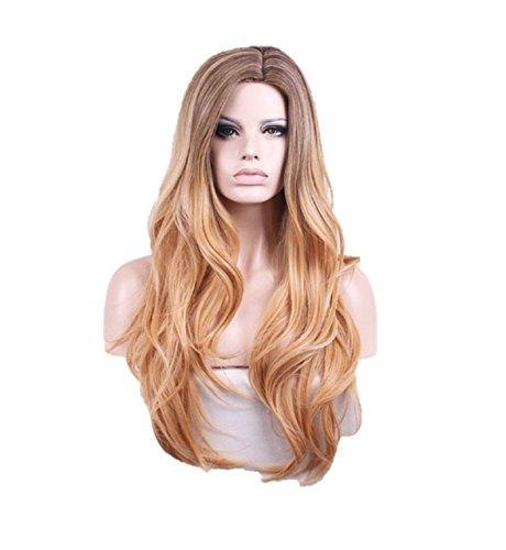Kurop Woman Wig Long Hair Brown Gold Gradation Natural Wavy High Temperature (Perm Wire)