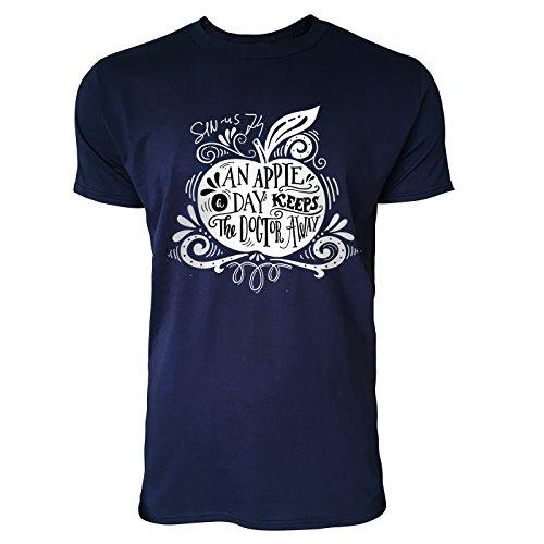 SINUS ART® An Apple A Day Keeps The Doctor Away Herren T-Shirts in Navy Blau Fun Shirt mit tollen Aufdruck