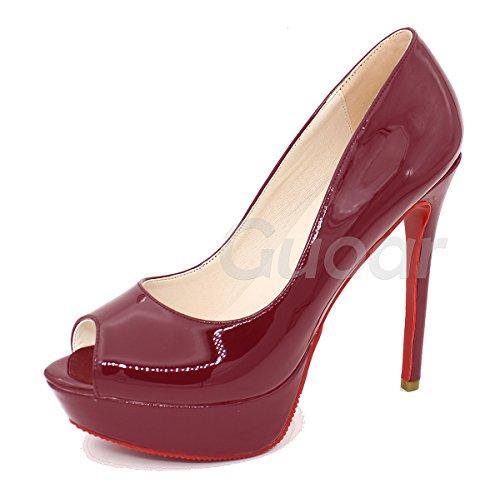Guoar - Scarpe peep toe Donna, (rosso), 39.5/26.1cm