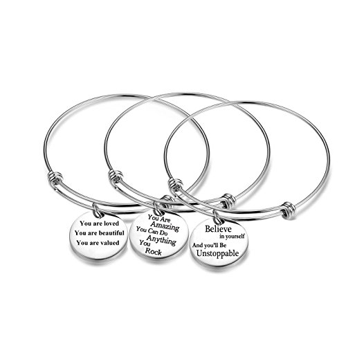 (AISHOW 3PCS Stainless Steel Inspirational Charm Bracelets Jewelry Set Engraved Message Motivational Expendable Bangles for Women)