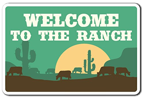 WELCOME TO THE RANCH Sign animals cowboy scenery farm | Indoor/Outdoor | 12