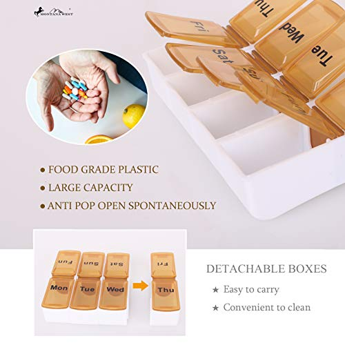 Weekly Pill Organizer Box Case, Cute Travel Pill Vitamin and Supplement Holder Day Night -Faux Leather Carrying Case Included SW MW1013-193CF