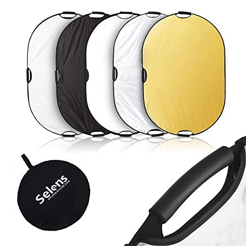 Selens Portable 5-in-1 48x72 Inch Large Oval Reflector with Handle, Collapsible for Photography Photo Studio Lighting & Outdoor Lighting