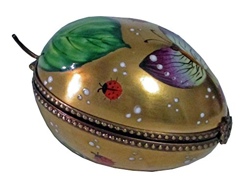 British American Collectibles Hand Painted Collectible Limoges Box Golden Egg
