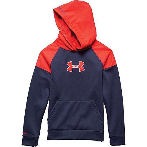 (Under Armour Boys' Armour Fleece Storm Big Logo Woven Hoody Blue Knight / Bolt Orange / Bolt Orange XL)